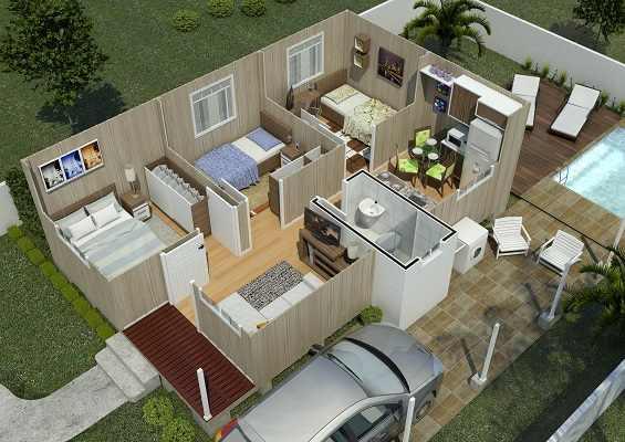 casa de madeira pré-fabricada copenhague corte