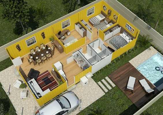 casa de madeira pré-fabricada milão corte