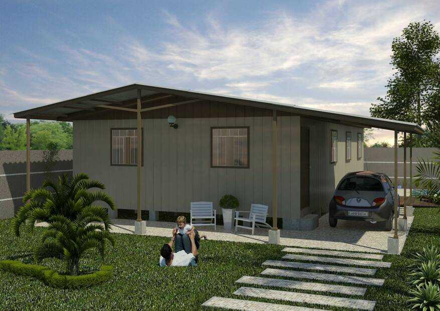 casa pré-fabricada de madeira madri